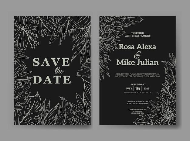Modèle d'invitation de mariage avec contour de fleurs tropicales monstera