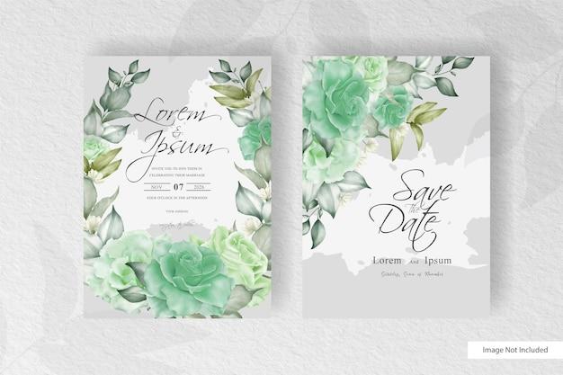 Modèle d'invitation de mariage couronne de fleurs de verdure