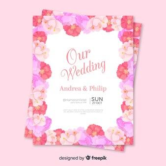 Modèle d'invitation de mariage dans un style floral