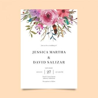 Modèle D'invitation De Mariage Avec Décoration Florale Aquarelle Vecteur Premium