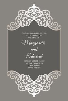 Modèle d'invitation de mariage découpé au laser avec bordure en dentelle. maquette de carte cadre plat.