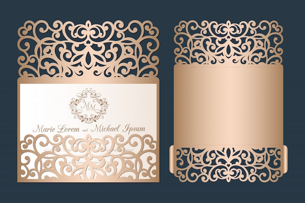 Modèle d'invitation de mariage découpé au laser. enveloppe de poche ajourée de mariage avec ornement de coupe abstraite.