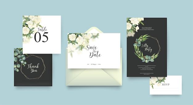 Modèle d'invitation de mariage avec design floral