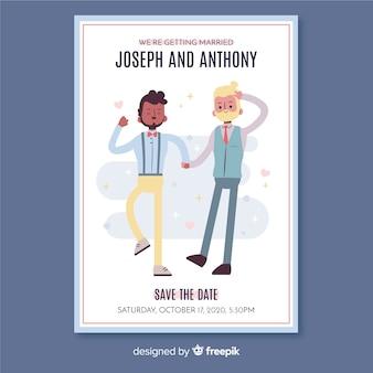 Modèle d'invitation de mariage design plat