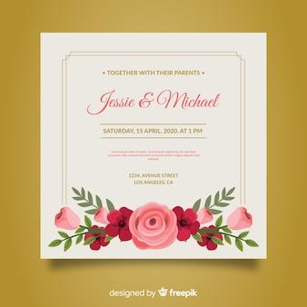 Modèle d'invitation de mariage dessiné à la main