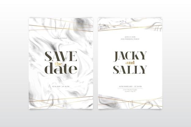 Modèle d'invitation de mariage avec détails dorés