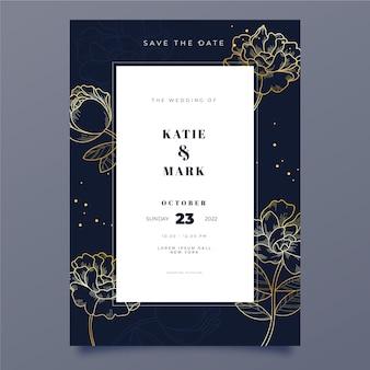 Modèle d'invitation de mariage doré dessiné à la main de gravure