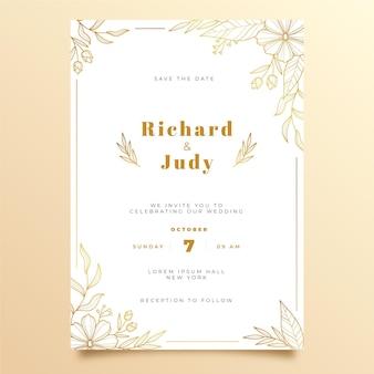 Modèle d'invitation de mariage doré dessiné à la main