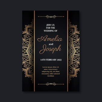 Modèle d'invitation de mariage doré