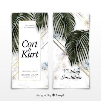 Modèle d'invitation de mariage effet marbre
