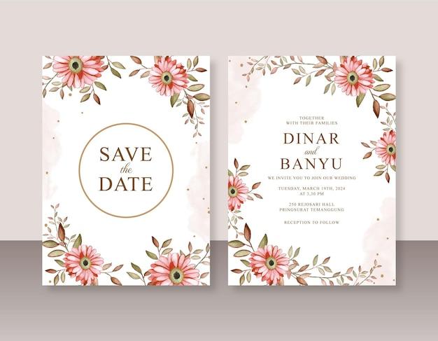 Modèle d'invitation de mariage élégant avec aquarelle de fleurs