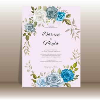 Modèle d'invitation de mariage élégant avec décoration florale