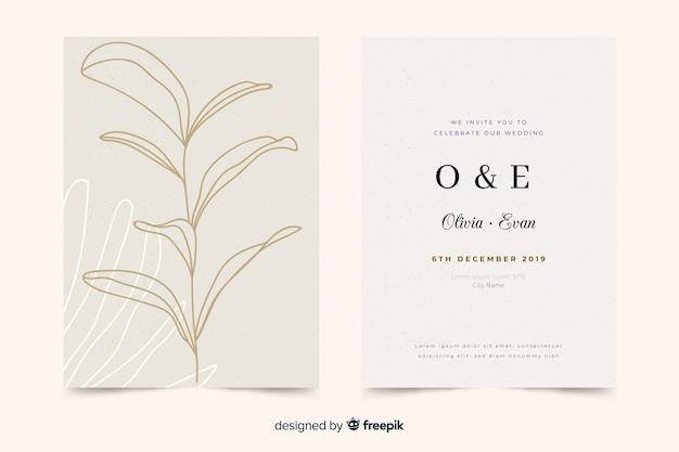 Modèle d'invitation de mariage élégant dessiné main