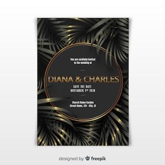 Modèle d'invitation de mariage élégant avec des feuilles tropicales