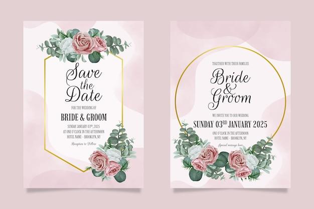 Modèle d'invitation de mariage élégant serti de cadre floral aquarelle poussiéreux
