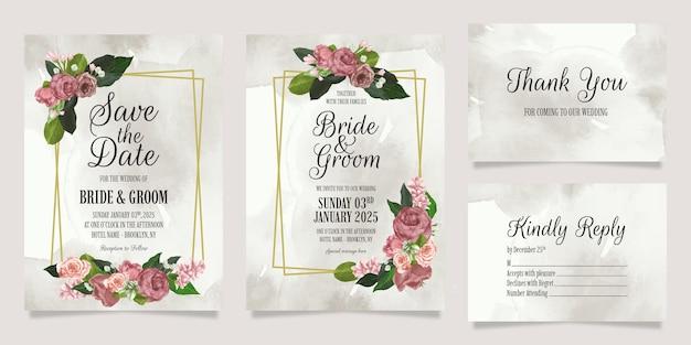 Modèle d'invitation de mariage élégant serti de fleurs aquarelles et cadre doré