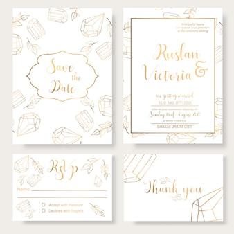 Modèle d'invitation de mariage avec des éléments décoratifs dorés et bijouterie