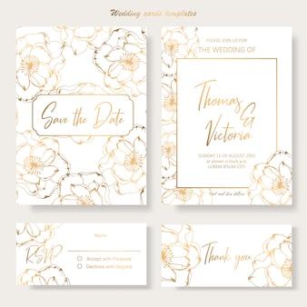 Modèle d'invitation de mariage avec des éléments décoratifs dorés