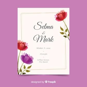 Modèle d'invitation de mariage avec des éléments floraux
