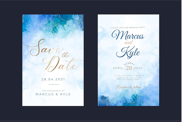 Modèle d'invitation de mariage à l'encre d'alcool aquarelle