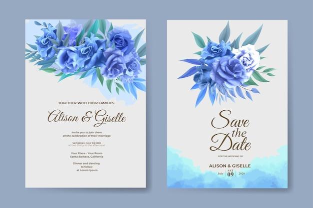 Modèle d'invitation de mariage avec ensemble de fleurs rose bleu