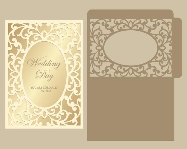 Modèle d'invitation de mariage enveloppe découpée au laser.