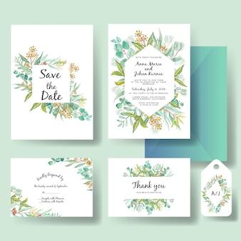 Modèle d'invitation de mariage d'eucalyptus vert feuilles aquarelle