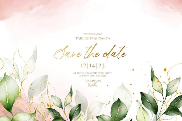 Modèle d'invitation de mariage feuille avec feuille d'or