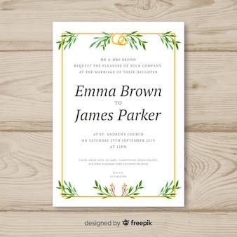 Modèle d'invitation de mariage feuilles dessinées à la main