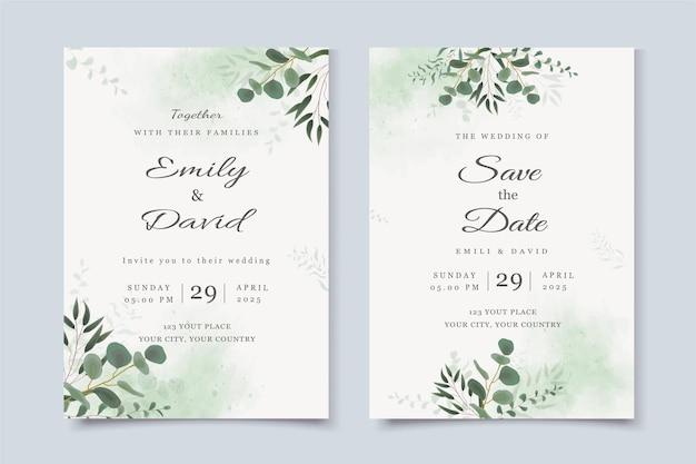 Modèle d'invitation de mariage avec des feuilles d'eucalyptus et aquarelle