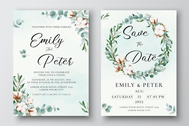 Modèle d'invitation de mariage avec des feuilles d'eucalyptus de fleurs de coton