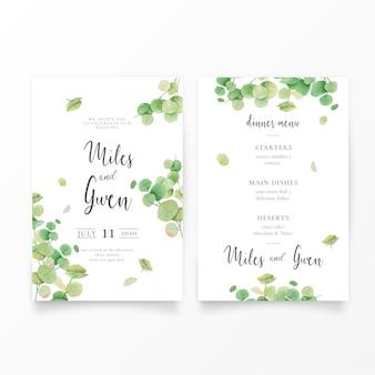 Modèle d'invitation de mariage avec feuilles d'eucalyptus et menu