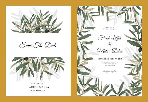 Modèle d'invitation de mariage avec des feuilles d'olivier aquarelle