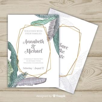 Modèle d'invitation de mariage de feuilles de palmier en couleurs pastel