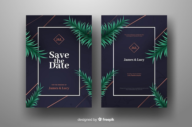 Modèle d'invitation de mariage feuilles de palmier réaliste