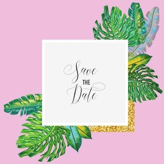 Modèle d'invitation de mariage avec des feuilles de palmier