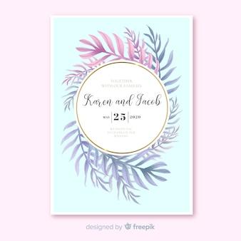 Modèle d'invitation de mariage feuilles de palmier