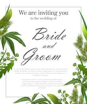 Modèle d'invitation de mariage avec des feuilles vertes et des branches de fourrure.