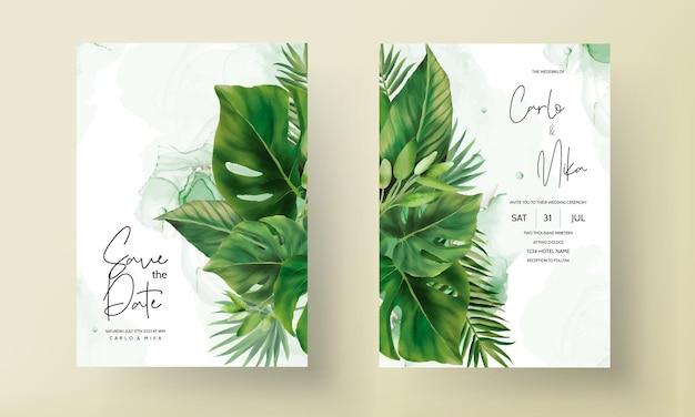 Modèle d'invitation de mariage de feuilles vertes dessinées à la main