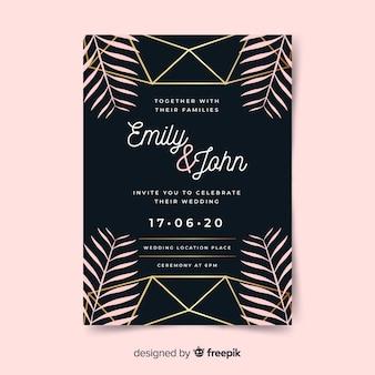 Modèle d'invitation de mariage feuilles