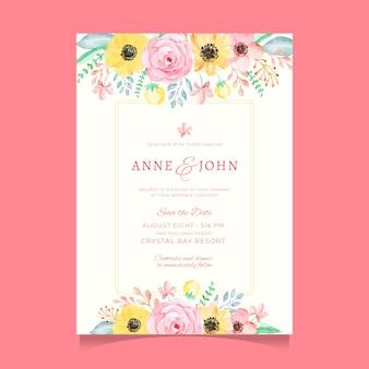 Modèle d'invitation de mariage fleur aquarelle douce et colorée