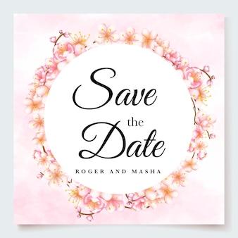 Modèle d'invitation de mariage avec fleur de cerisier