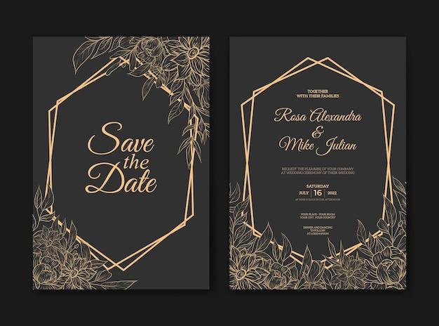 Modèle d'invitation de mariage de fleur de contour élégant