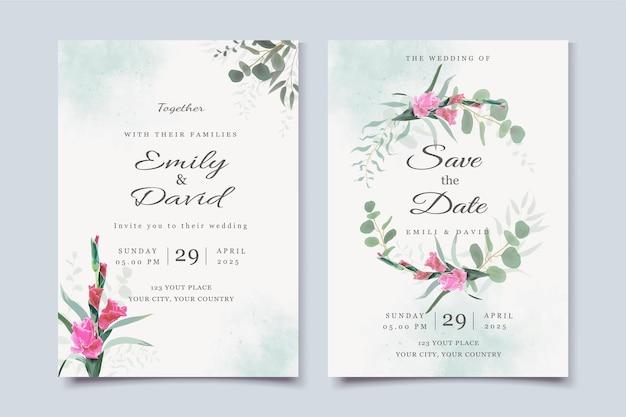 Modèle d'invitation de mariage avec fleur de gladiorus et feuilles d'eucalyptus