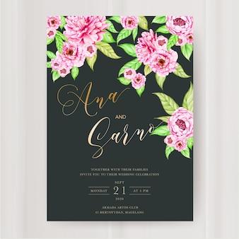Modèle d'invitation de mariage avec fleur de pivoine aquarelle