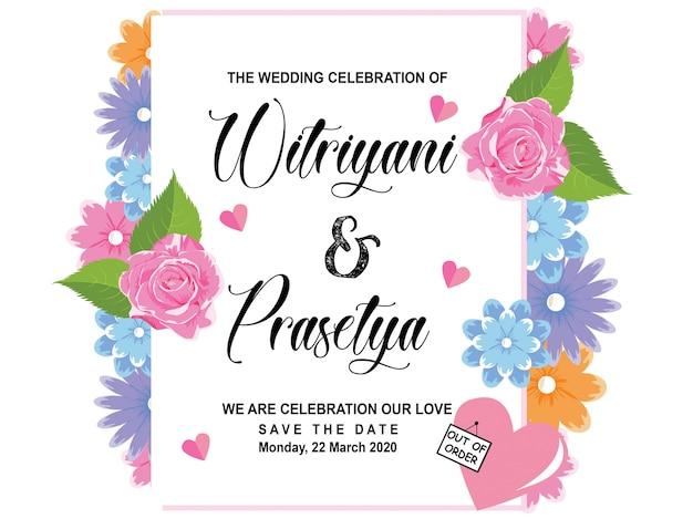 Modèle d'invitation de mariage fleur
