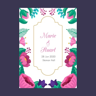 Modèle d'invitation de mariage avec fleur