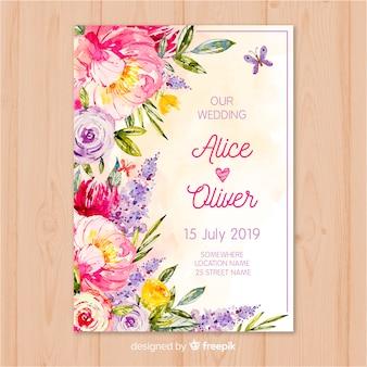 Modèle d'invitation de mariage fleurs aquarelle