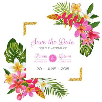 Modèle d'invitation de mariage avec des fleurs. économies florales tropicales carte la date. design romantique de fleurs exotiques
