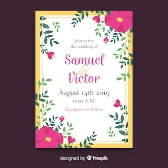 Modèle d'invitation de mariage de fleurs et feuilles